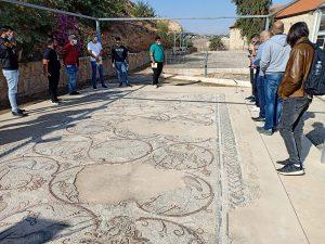 Mosaics from Gaza synagogue at Samartin inn mosaics museum